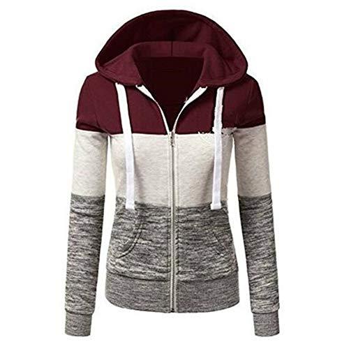 À Capuche Sweatshirts Sweat Manches Printemps Automne Vin Femme Vestes Longues Zipper Hoodies shirt Rouge Newbestyle Fxwq8zp8
