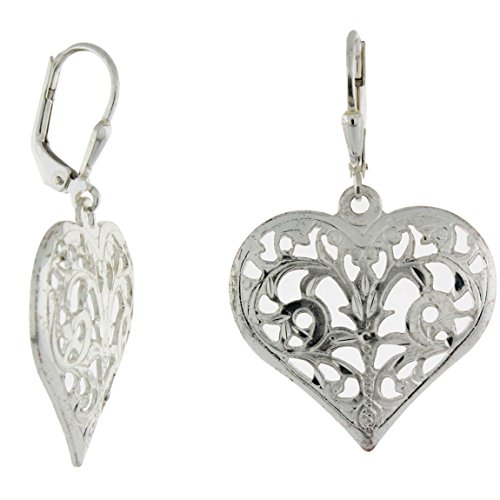 (Sterling Silver Filigree Diamond-Cut Leverback Heart Earrings)