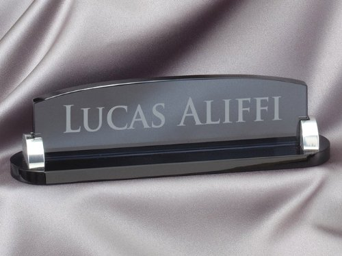 - Smoked Glass Name Plate with Free Engraving