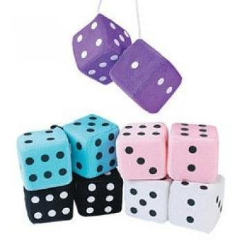 Soft Plush Hanging Dice One Dozen Pair -