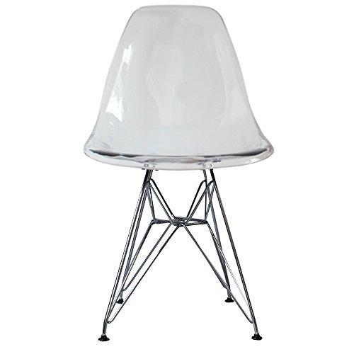 Silla de comedor de plastico con patas inspiradas en Eiffel, estilo escandinavo retro, Patas cromadas, transparente, H: 82cm W: 46cm D: 50cm. Seat Height: 44cm