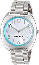 Nine West Women's NW/1569TLSB Silver-Tone Turquoise Accented Easy-to-Read Dial Bracelet Watch
