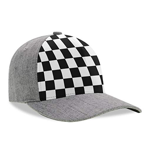 YongColer Toddlers Race Waving Checkered Flag Dad Hat, Fitted Trucker Cap, Baseball Cap, Peaked Cap, Moisture Wicking Breathable Snapback Cap for Baseball Hiking Running (Checkered Flag Baseball Cap)