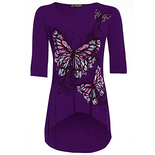 - Be Jealous Women's 3/4 Sleeves Floral Butterfly Printed Dipped Hem Tunic Top Plus Size (US 16/18) Purple