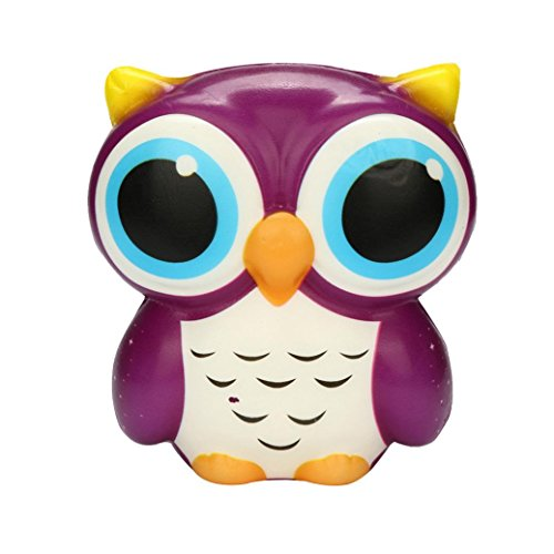 Clearance Sale!DEESEE(TM)Adorable Owl Squishy Slow Rising Cartoon Doll Cream Scented Stress Relief Toy (Purple) -