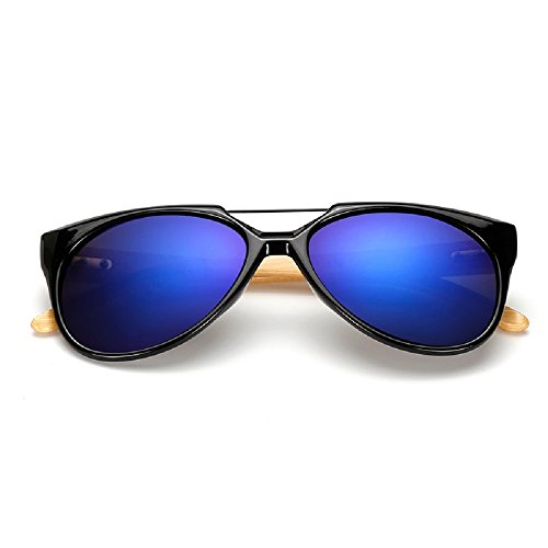 Wei dan bamboo arm sunglasses men and women aviator sunglasses sports driving mirror 526 (Black frame / dark blue lenses, - Ten Men Sunglasses Top For Brands