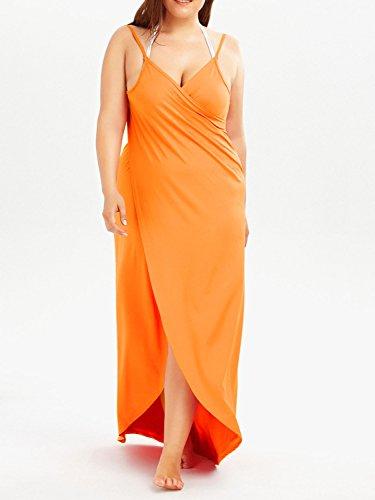 Cinghia Donne Della Avvolgere Spiaggia Clothink Da Costume Di Di Arancione Bagno Coprire Vestito Scollato Bikini Spaghetti tESqwtrxX