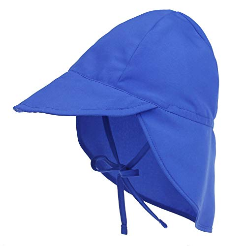 Baby Boys Girls Sun Hat Toddler Adjustable Summer UPF 50+ Sun Protection Beach Flap Hat with Wide Brim Blue 2T-4T
