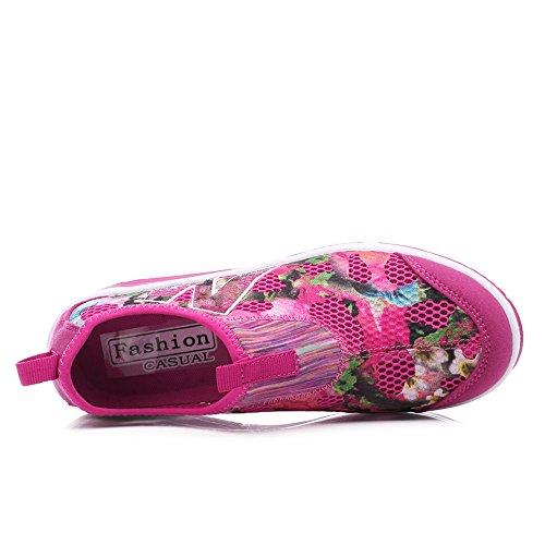 Fashion Floral Walking Platform Rose On 1607 Women Toning Printed Shoes Shoes Slip EnllerviiD Wedges Fitness 0P8qwOI