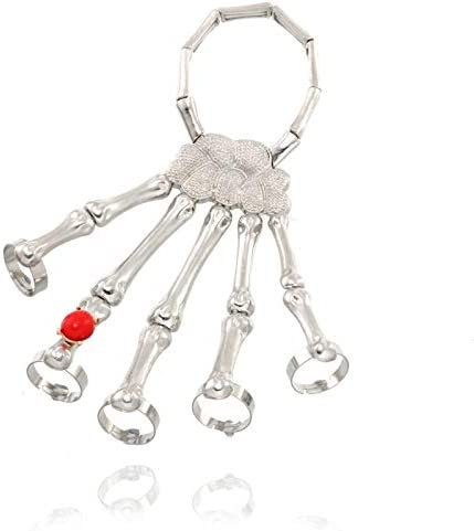 Nobrand Steampunk Mano Esqueleto Cráneo Punk Exageración Elasticidad Ajustable Hombres Metal Pulseras De Doto Unisex Piedra Roja Cristal Cristal