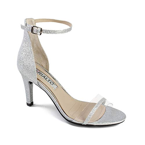 RIALTO Shoes Revere Women's Heel, Silver/Glitter, 6H ()