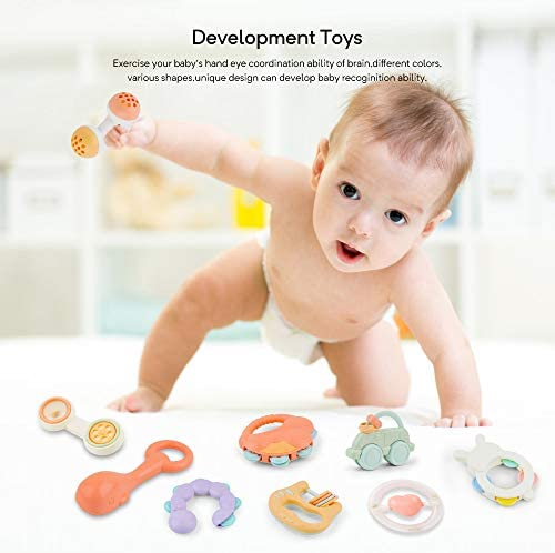 41yfJZWNniL. AC Gizmovine 10pcs Baby Toys Rattles Set, Infant Grasping Grab Toys, Spin Shaking Bell Musical Toy Set Early Educational Toys with Storage Box for Toddler Newborn Baby 3, 6, 9, 12 Month    Product Description
