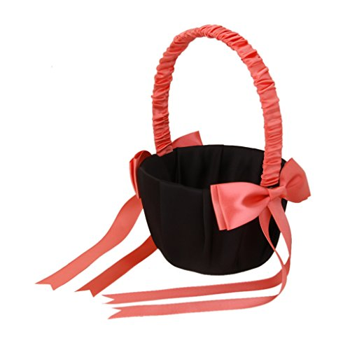 MagiDeal Wedding Day Bridesmaid Flower Girl Basket Decorated with Peach Pink Bowknots Black