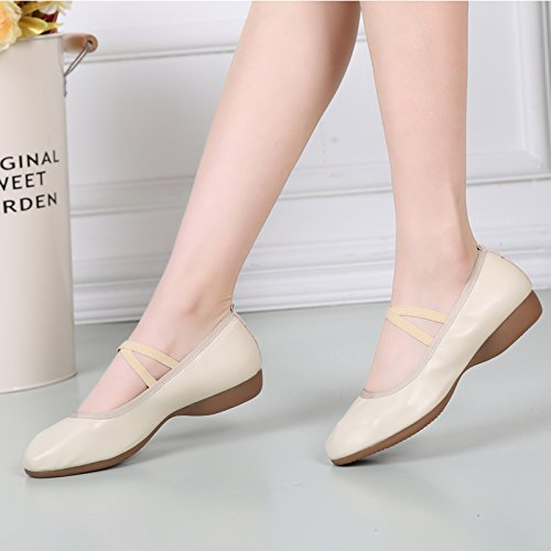Abby 885-3 Womens Charming Snug Closed Toe Mary Jane Breathable Flat Heel Modern Square Dance Sneakers Beige(elastic) jeIfCZRWh