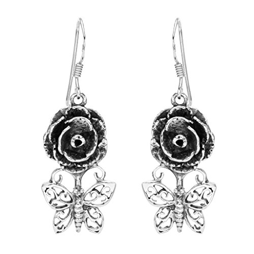 - EVER FAITH Women's 925 Sterling Silver Art Nouveau Butterfly Rose Flower Fishhook Dangle Earrings