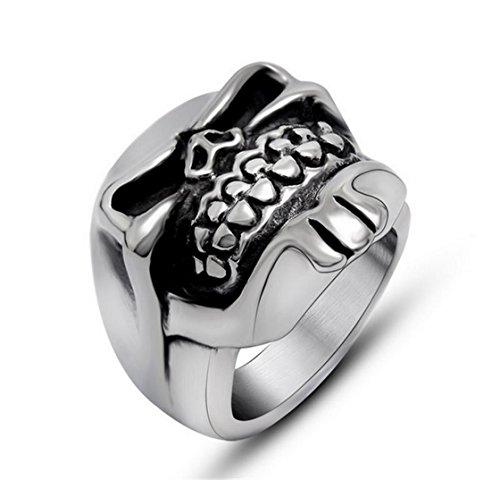 PSRINGS Classic Bearded Skull Ring Design Big Smooth Skull Ring Stainless Steel Biker Punk 7.0