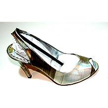 Gianni Bini Women Shoes Dress Leather Heels Silver Size 8m Made In Brazil.