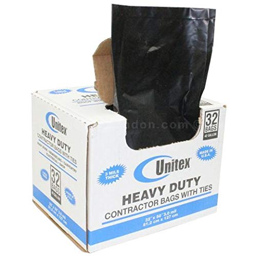 Unitex Heavy‑Duty Contractor Debris Bags with Ties, 42 Gallon, 32 inches x 50 inches, 3 mil, Black - 32 /Box (10 Boxes)