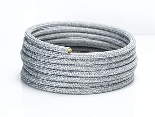 5 Meters 3 Core Round Zig Zag Natural Linen 0.75mm Vintage Braided Fabric Flexible Lighting Electrical Cable High Quality UK Lamp Cable Flex Cord Wire
