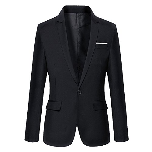 DAVID.ANN Men's Slim Fit One Button Casual Blazer Jacket,Black,Medium