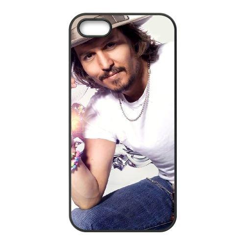 Johnny Depp 004 coque iPhone 5 5S cellulaire cas coque de téléphone cas téléphone cellulaire noir couvercle EOKXLLNCD24879