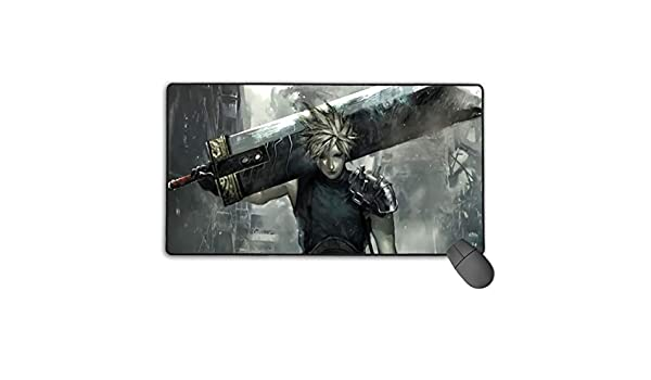 Gaming Mouse Pad Final Fantasy VII Advent Children FFVII Cloud Strife Mouse Mat with Stitched Edge Non-Slip Rubber Game Mousepad Wrist Rests Multifunctional Big Office Desk Pad for PC Computer Laptop