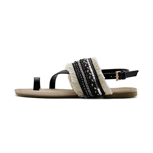 839d1b72312fd Ollio Women s Shoes Ethnic Toe Ring Diagonal Strap Sling Back Boho Flat  Sandals - Bohemian Fashion Corner
