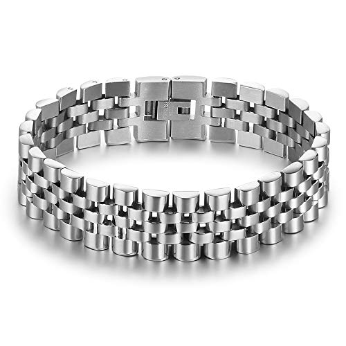 ROSI Jewelry Men's Stainless Steel Chain Classic Watch Band ID Tag Identification Bracelets for Men (Silver) from ROSI