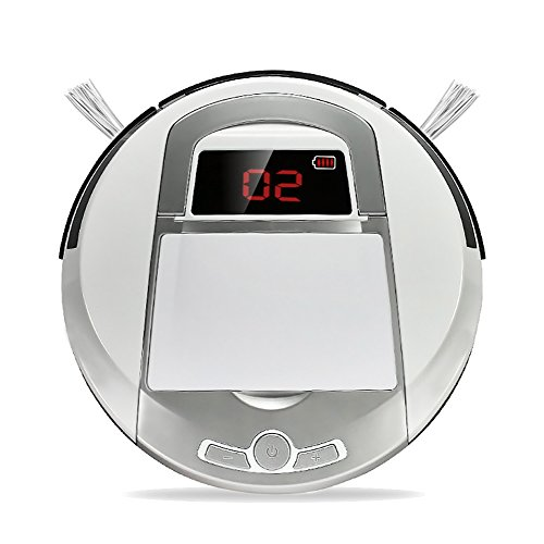 Robotic Vacuum Cleaner Cordless Automatic Vacuum Cleaner Robot Bagless High Suction Cleaning for Dry Floor and Thin Carpets (White)