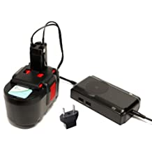 Bosch 24V Battery and Charger Replacement with EU Adapter - Compatible with Bosch BAT030, 11524, 1645, GBH-24V, GBH24V, 3924-24, 52324, 13624, 12524, 1660, PSB24VE-2, BAT240, BAT031, 2 607 335 280, 2607335561, 2607335537 (1300mAh, NICD)