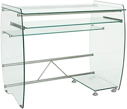 Mesa de ordenador cristal transparente 90 x 55 cm: Amazon.es: Hogar