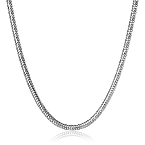 7267fbb2a350 BODYA 1 pc impresionante plateado 3 mm serpiente collar de cadena de ...