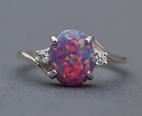 (YABINA Zircon White Fire Opal Ring Jewelry Silver Color Wedding Rings for Women (6, Purple))