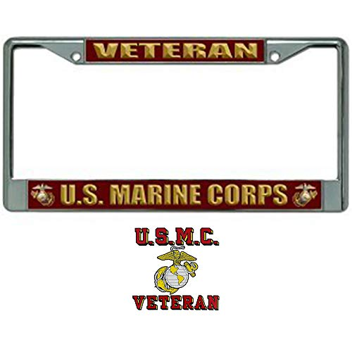 (U.S. Marine Corps Veteran License Plate Frame Bundle with USMC Veteran Decal for Marine Veterans )