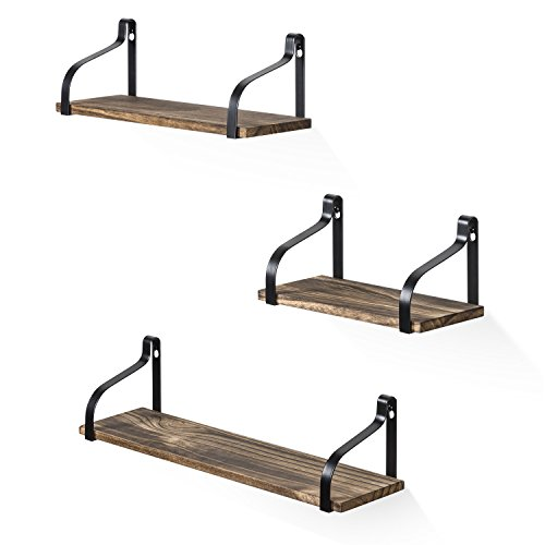 Love-KANKEI Floating Shelves Wall Mounted Set of 3, Rustic Wood Wall Storage Shelves for Bedroom, Living Room, Bathroom, Kitchen, Office and More by Love-KANKEI (Image #1)