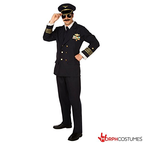 Mens Airliner Professional Pilot Flightsuit Fancy Dress Costume - 3 Piece Quality Costume (Pilot Costume Men)