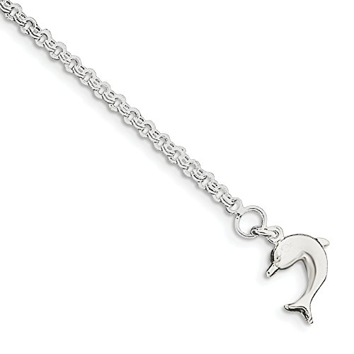 Sonia Jewels Sterling Silver 9inch Hollow Polished 3-Dimensional Dolphin Anklet 9