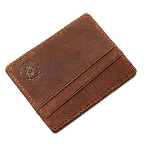 Leather Porte Carte Front Pocket Slim Card Wallet Credit Card Holder brown