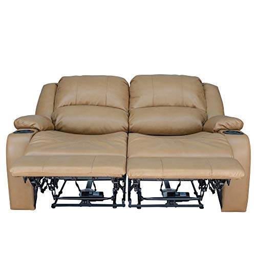 RecPro Charles 58 Powered Double RV Wall Hugger Recliner Sofa RV Loveseat Toffee