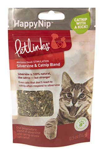 Petlinks Happynip .5 oz Silvervine Resealable Pouch Happynip Catnip Blend Loose Catnip from Petlinks