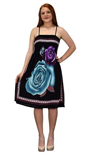 6dcced8c83 Peach Couture Juniors Rose Print Smocked Bodice Spaghetti Strap Midi Dress  (Black Teal M