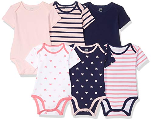 (Amazon Essentials Baby 6-Pack Short-Sleeve Bodysuit, Girl Heart Stripe, 0-3M )