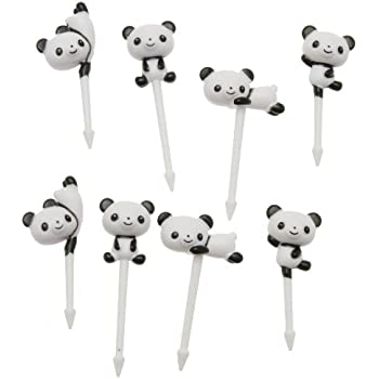 Kotobuki Food Picks for Bento Boxes, White Pandas
