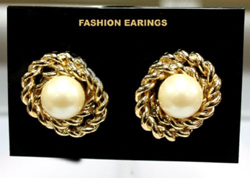 Gold Colored Braid and Pearl Earrings - Clip On Fashion Earrings