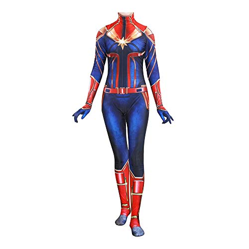 YiranYijiu Captain Marvel Superhero Suit Halloween Cosplay Costume Carol Danvers Spandex Bodysuit Zentai (Adults-XXL, Suit) -