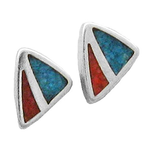 - 925 Sterling Silver Triangle, Turquoise And Red Inlay Earrings Charm Gem Stones