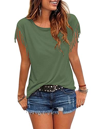 Summer Tassel - Cosonsen Women's Tassel Short Sleeve Round Neck T-Shirt Top Casual Summer Tee