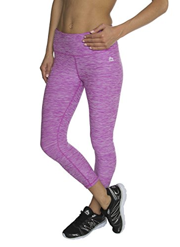 RBX Active Women's Knee Length Printed Space Dye Yoga Crop Capri Leggings, Medium, Magenta Stratus (Mustache Pantyhose)