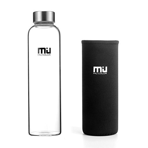 MIU COLOR 18.5 oz Glass Water Bottle - Eco-friendly Shatter Resistant Borosilicate Glass Bottle, BPA, PVC and Lead Free, Portable with Nylon Sleeve