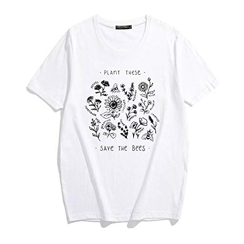 ZSIIBO Women's Funny Bees Printed T Shirt Lovely Botanic Flowers Graphic Tees Cute Tops for Youth TX16 (White-02, XL)
